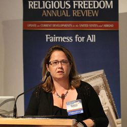 """Robin Fretwell Wilson, professor at University of Illinois College of Law, speaks during a session on """"Working With State and Local Governments on Religious Freedom Issues"""" during the BYU law school conference on religious freedom, """"Fairness For All,"""" July 6, 2015, in Provo."""