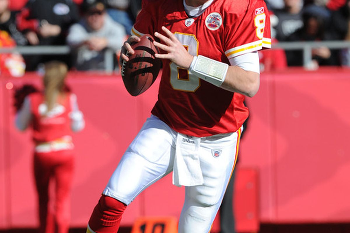 KANSAS CITY, MO - DECEMBER 24:  Quarterback Kyle Orton #8 of the Kansas City Chiefs rolls out against the Oakland Raiders during the first half on December 24, 2011 at Arrowhead Stadium in Kansas City, Missouri.  (Photo by Peter Aiken/Getty Images)