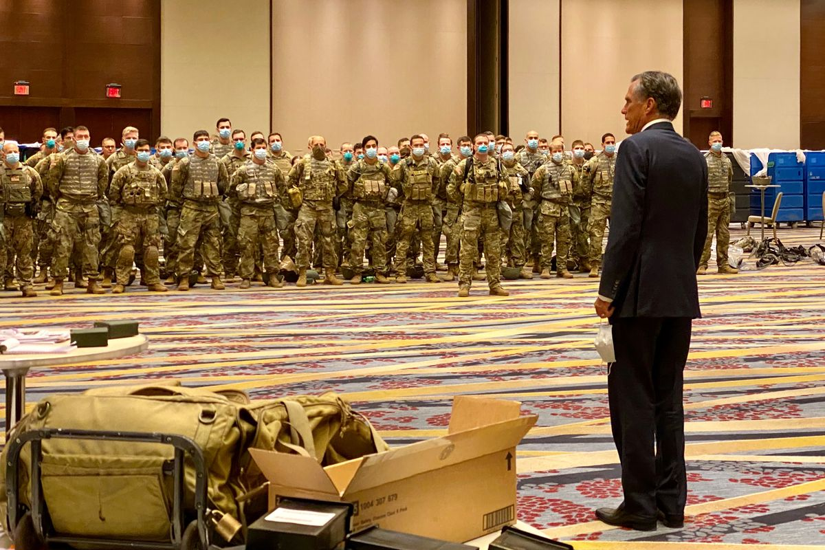 Sen. Mitt Romney meets Utah National Guard soldiers sent to Washington, D.C., to help local authorities deal protests about racial inequality.