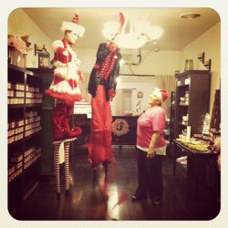 What's a holiday party without elves on stilts?