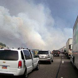 Traffic backed up near Old Cove Fort on I-15 due to heavy smoke from the Milford Flat Fire.