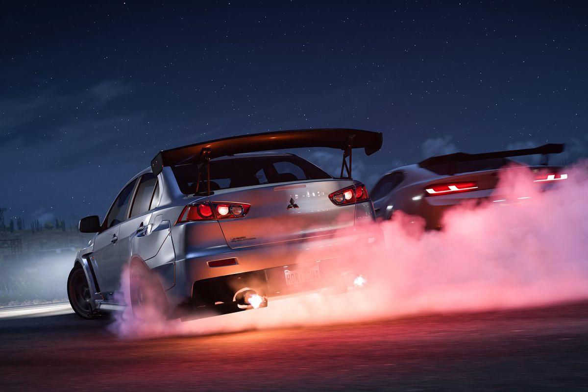 Two cars drift in Forza Horizon 5