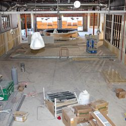 The view from upstairs back bar over the main bowling alley.