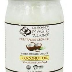 """Coconut Oil, <a href=""""http://www.amazon.com/Bronners-Fresh-pressed-Virgin-Coconut-Unrefined/dp/B0052AIF00/ref=cm_cr_pr_product_top"""">$14.76</a>. """"I carry a small container of coconut oil when I travel because I use it for EVERYTHING — in my hair, on my ski"""