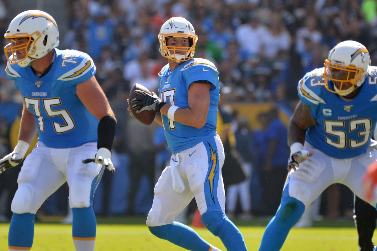 Los Angeles Chargers quarterback Philip Rivers drops back to pass during the second quarter against the Denver Broncos at Dignity Health Sports Park.