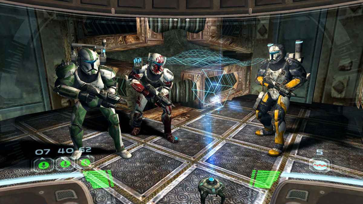 The soldiers of Delta Squad group up for a briefing in Star Wars: Republic Commando
