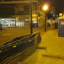 5:49 p.m. View inside the barricade fence at Addison and Sheffield -