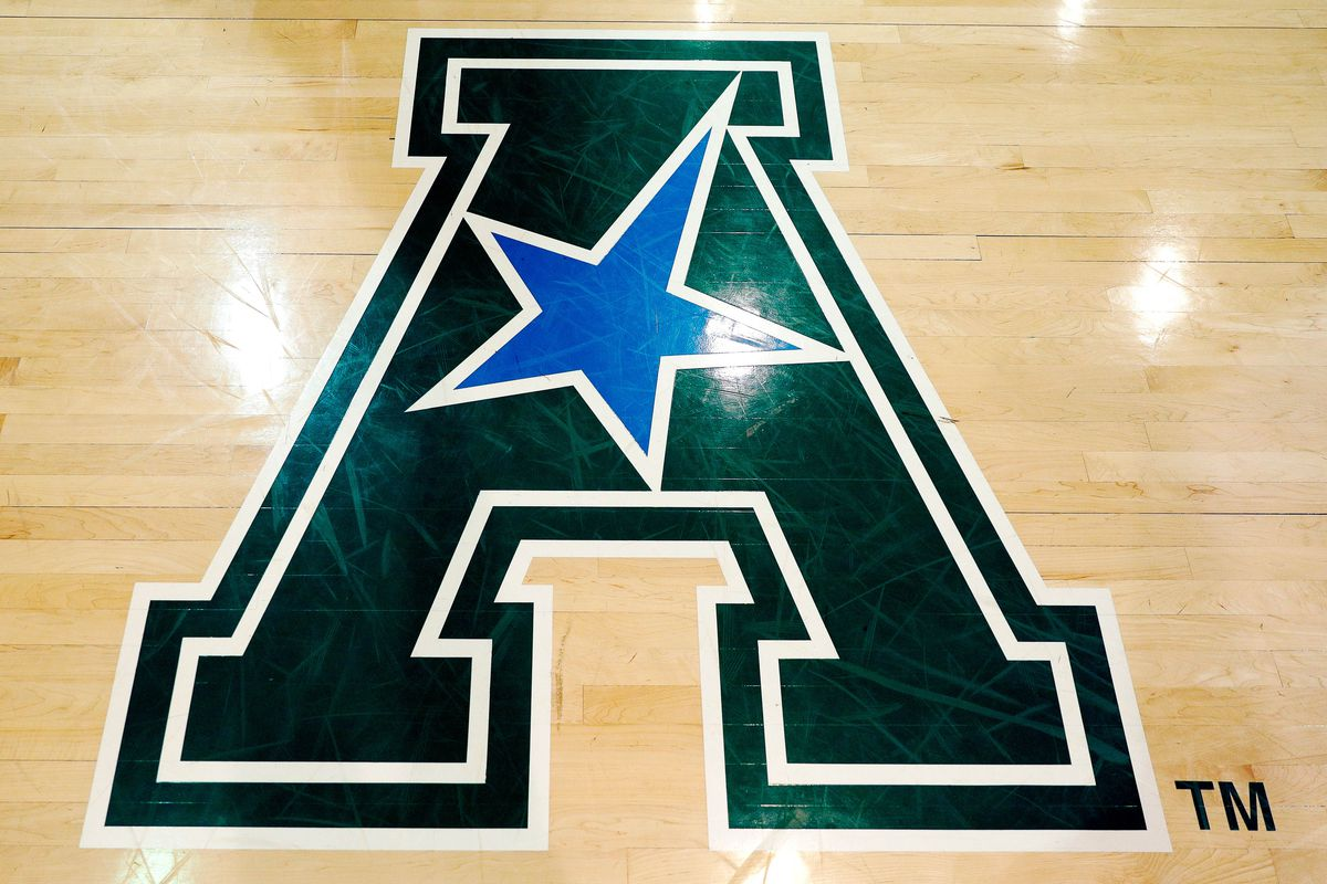 American Athletic Conference logo on the court before the game between the Tulane Green Wave and the Cincinnati Bearcats at Devlin Fieldhouse.