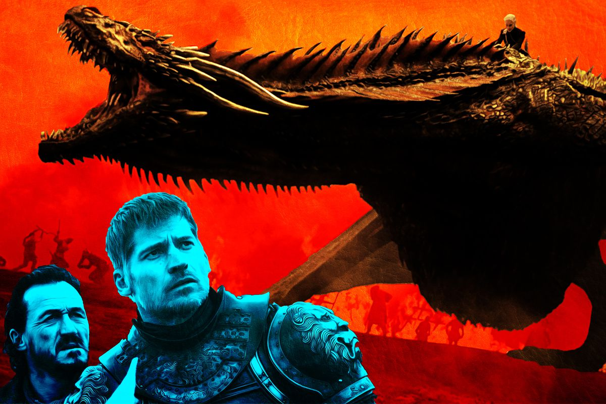 Illustration of Jaime Lannister looking up at a dragon