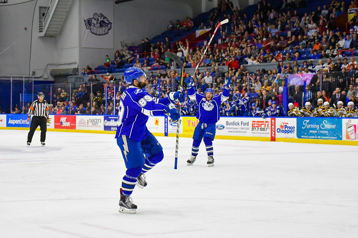 Syracuse Crunch hosts the Providence Bruins in American Hockey League (AHL) Calder Cup Playoff action at the War Memorial Arena in Syracuse, New York on Wednesday, May 24, 2017. Syracuse won 5-4.