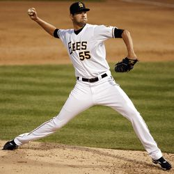 Pitcher Loek Van Mil pitches as the Salt Lake Bees open the season at home  in Salt Lake City  Friday, April 13, 2012.