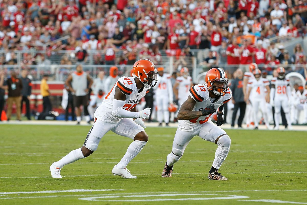 Wide receivers Jarvis Landry and Odell Beckham Jr. of the Cleveland Browns line up for a play in the first half against the San Francisco 49ers at Levi's Stadium on October 07, 2019 in Santa Clara, California.