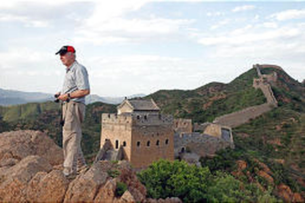 Talbot Lovering looks out at the horizon from a viewpoint on the Jinshanling section of the Great Wall of China during his trek in May.