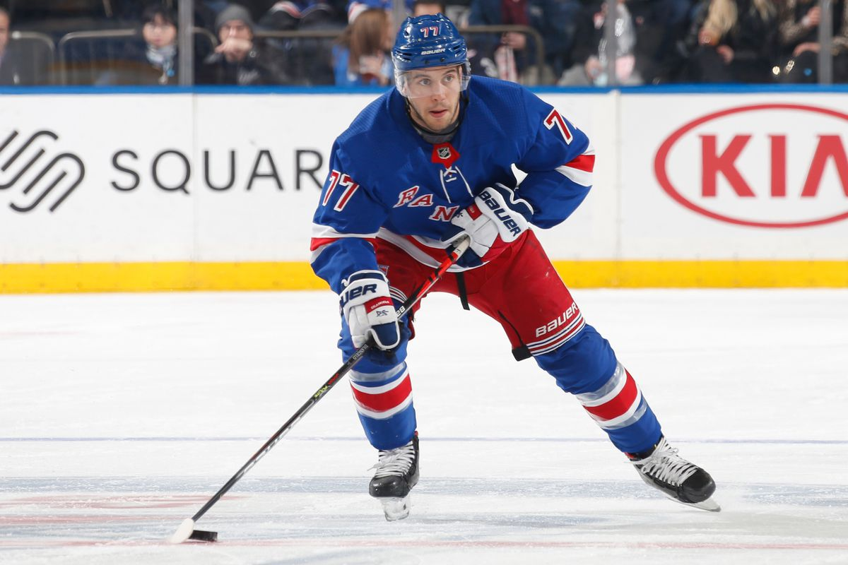 Tony DeAngelo #77 of the New York Rangers skates with the puck against the Washington Capitals at Madison Square Garden on March 5, 2020 in New York City.