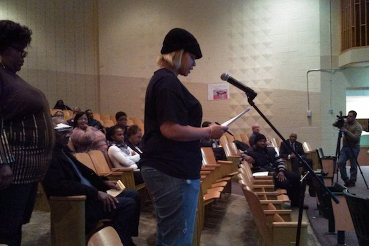 """A parent speaks last year at a Shelby County Board of Education meeting. Rep. John DeBerry (D-Memphis) said parents often feel powerless to improve their child's school within the traditional educational structure, prompting him to sponsor """"parent trigger"""" legislation designed to empower parents."""