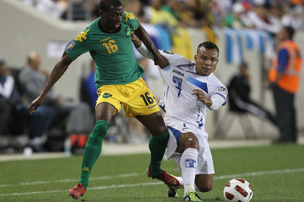 Omar Daley, seen here with Team Jamaica at the recently concluded Gold Cup, is currently on trial with MLS side San Jose Earthquakes