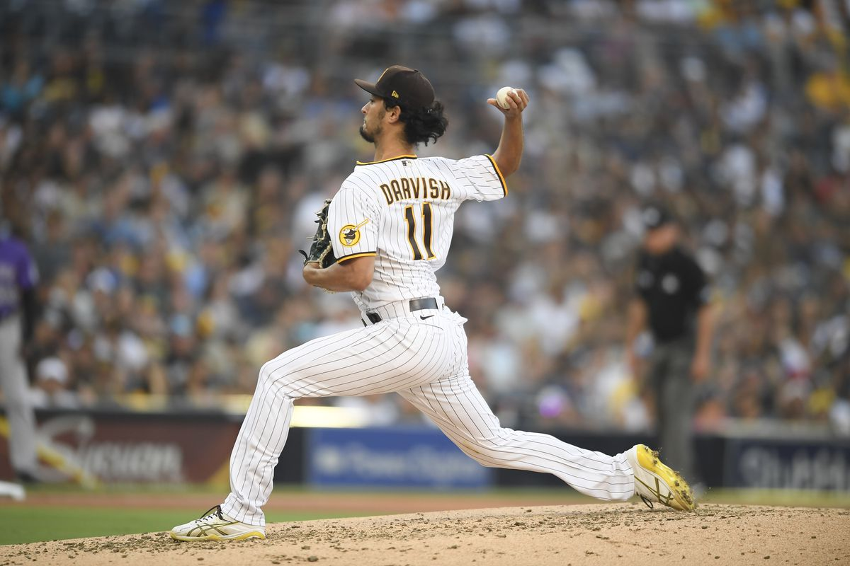 Yu Darvish #11 of the San Diego Padres pitches during the fourth inning of a baseball game against the Colorado Rockies at Petco Park on July 31, 2021 in San Diego, California.