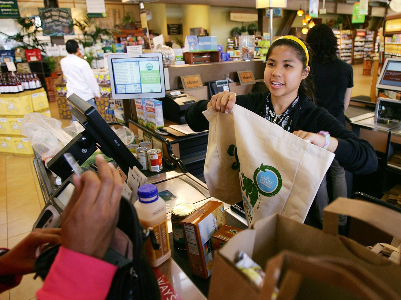 A Whole Foods cashier in Pasadena, California.