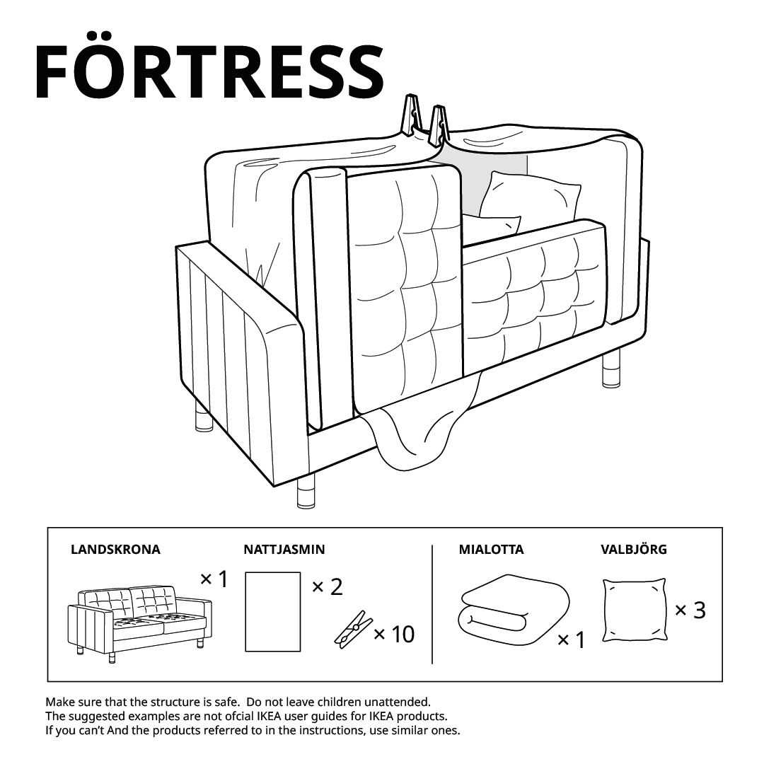 Illustrated fort instructions of a sofa with cushions turned up.
