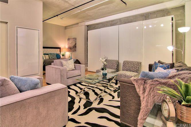 Living area open to bedroom