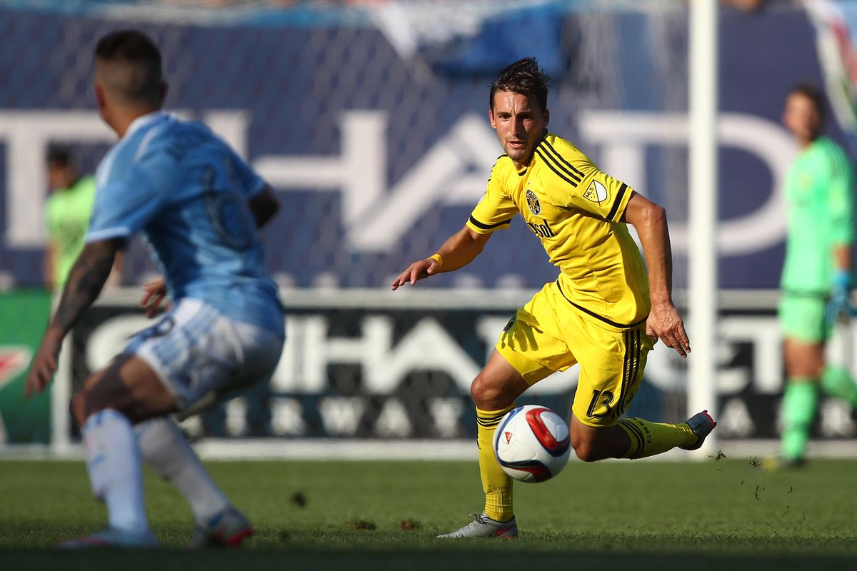 Columbus' Ethan Finlay chases a ball against New York City FC last week. A stripped-down Crew SC travels to Dallas on Saturday.