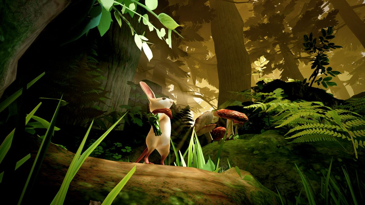 A screenshot of Quill the mouse in a forest from the game Moss