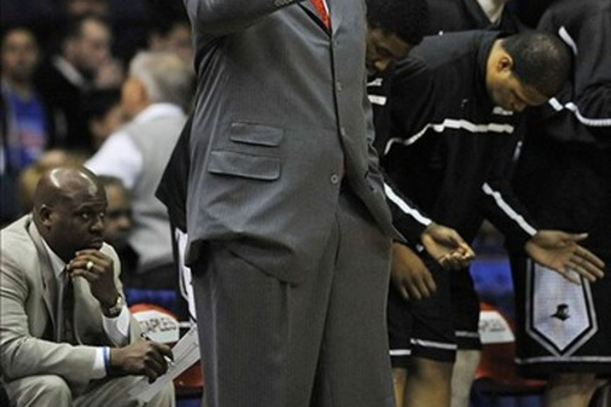 Feb 25, 2012; Rosemont, IL, USA; Providence Friars head coach Ed Cooley gives instructions against the DePaul Blue Demons during the first half at Allstate Arena. Mandatory Credit: David Banks-US PRESSWIRE