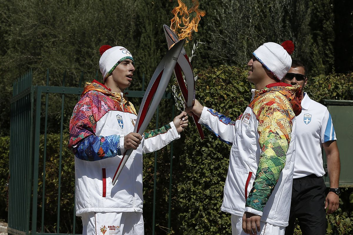 The Olympic torch is lit in Greece on its way to Russia