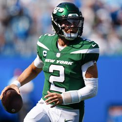 New York Jets quarterback Zach Wilson passes against the Carolina Panthers during the second half of an NFL football game Sunday, Sept. 12, 2021, in Charlotte, N.C.