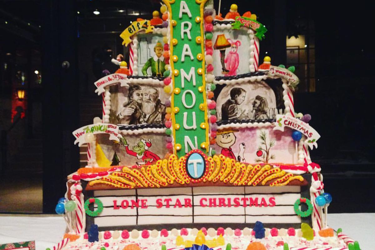 """A gingerbread theatre with a marquee and a big blade that says """"Paramount"""""""