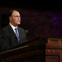 Bishop W. Christopher Waddell, who was just called as first counselor of the Presiding Bishopric, speaks during the Saturday afternoon session of the 190th Semiannual General Conference of The Church of Jesus Christ of Latter-day Saints on Oct. 3, 2020.