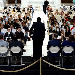 Rep. Burgess Owens, R-Utah, speaks at a naturalization ceremony at the Capitol in Salt Lake City on Thursday, Aug. 12, 2021. One hundred twenty-four citizenship candidates from 38 countries became U.S. citizens.