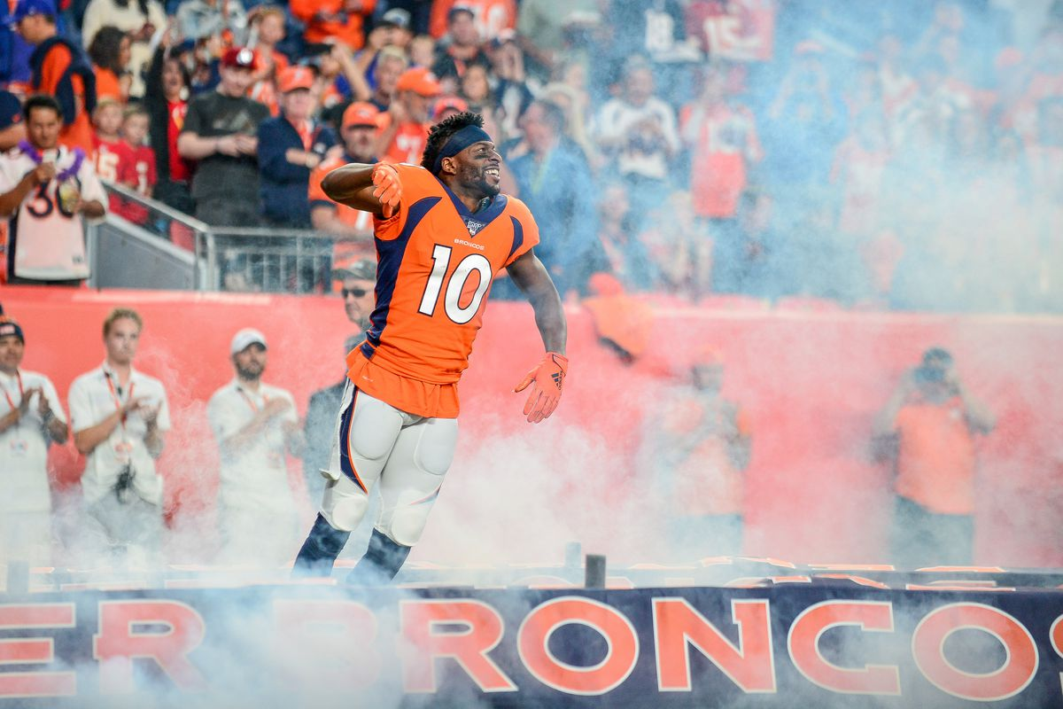 Emmanuel Sanders of the Denver Broncos runs onto the field during player introductions before a game against the Kansas City Chiefs at Empower Field at Mile High on October 17, 2019 in Denver, Colorado.