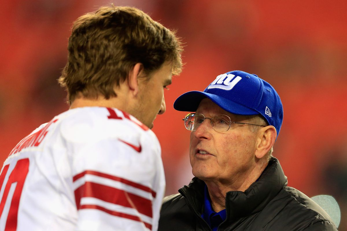 Eli Manning and Tom Coughlin before Sunday's game
