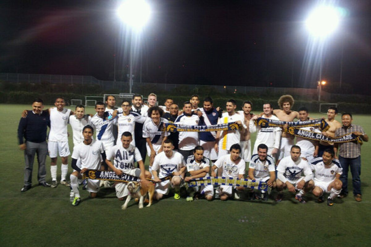 Angel City Brigade team photo after a 1-0 defeat of the Union Ultras in La Barra Clasico. Photo credited to the Angel City Brigade.