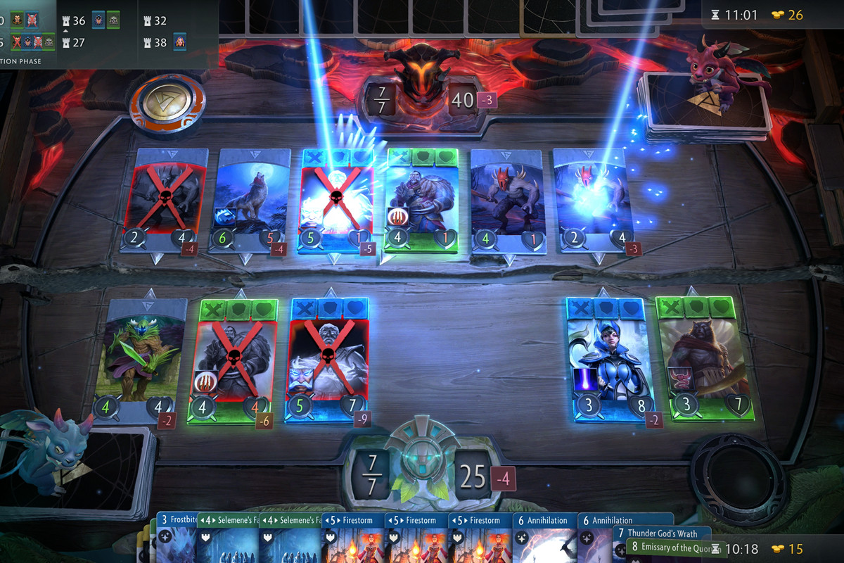 Artifact - a player assembles their cards on a board, playing against an opponent.