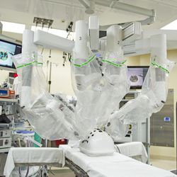 A da Vinci Xi surgery robot is seen in a surgery room at St. Mark's Hospital in Salt Lake City on Friday, Dec. 16, 2016. The robot mimics a surgeon's hand movements but with a wider range of motion using robotic arms, allowing physicians to perform complex dissections or reconstructions with a much smaller incision. As a result, patients experience less trauma, reduced pain, faster recovery times and minimal scarring.