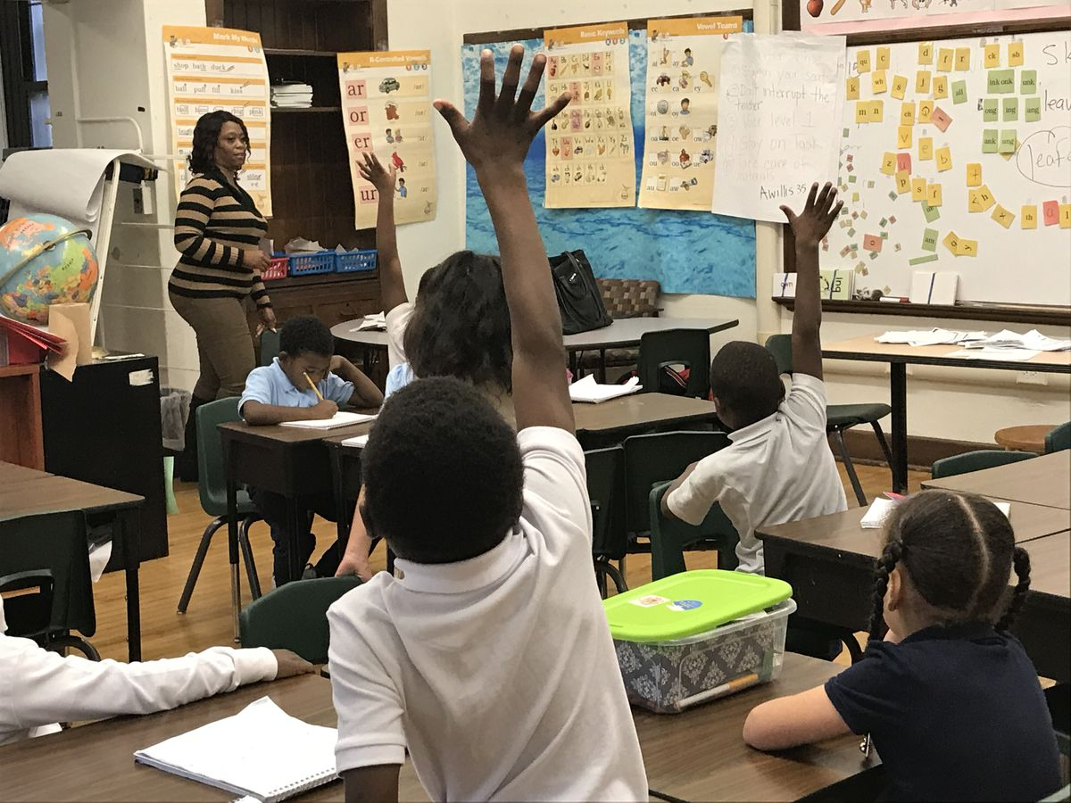 Second grade teacher Angela Willis leads a reading lesson at Detroit's Bethune Elementary-Middle School.