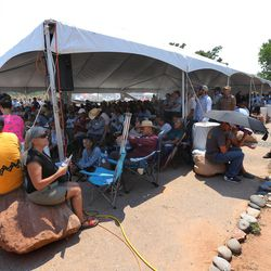 Overflow areas are filled with those that couldn't get inside for a meeting with Interior Secretary Sally Jewell, in Bluff talking about the proposed Bears Ears national monument in southern Utah on Saturday, July 16, 2016.