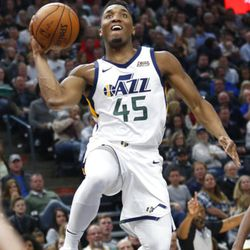 Utah Jazz guard Donovan Mitchell (45) goes to the basket in the second half during an NBA basketball game against the New Orleans Pelicans Friday, Dec. 1, 2017, in Salt Lake City. (AP Photo/Rick Bowmer)