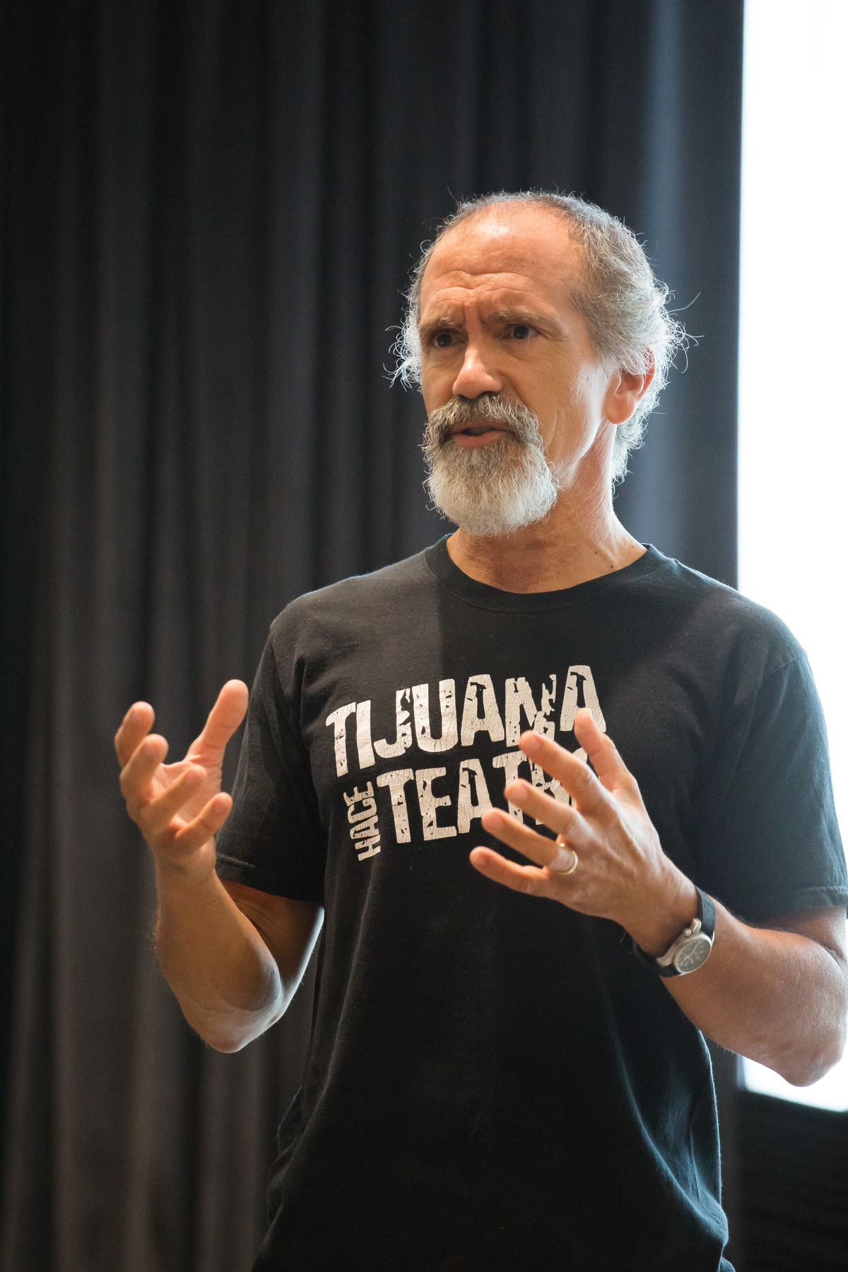 "Henry Godinez rehearses for ""Quixote: On the Conquest of Self"" at Writers Theatre.   JOE MAZZA"