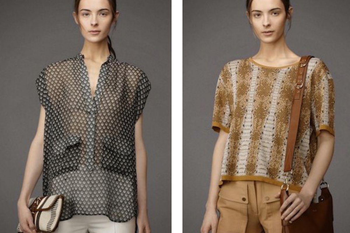 Belstaff silk top, $595; Belstaff Python Jacquard top, $895; Image credit: Adresse/Facebook