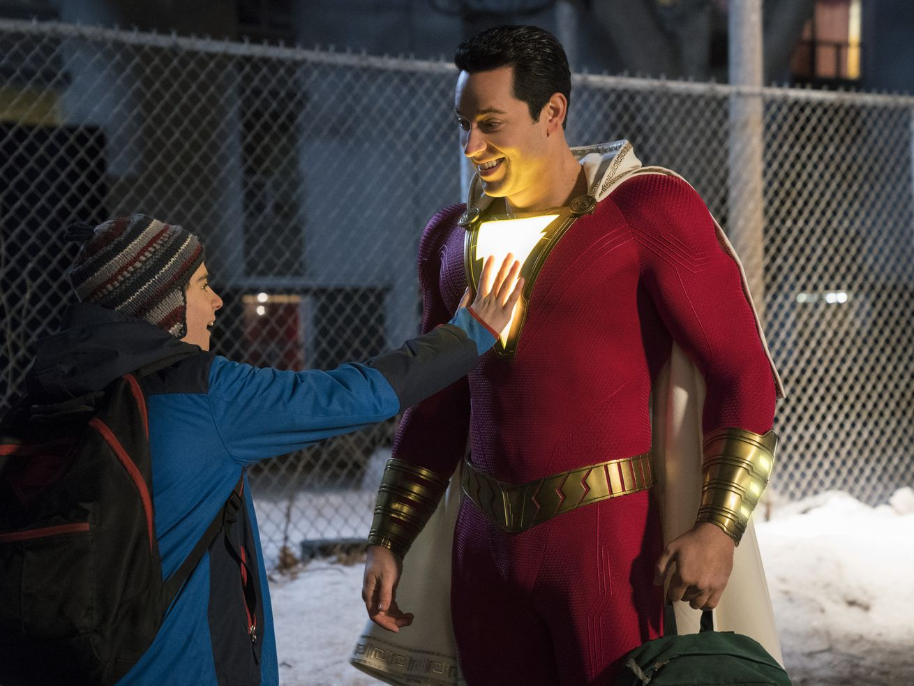 """Jack Dylan Grazer as Freddy Freeman and Zachary Levi as Shazam in New Line Cinema's action adventure """"SHAZAM!,"""" a Warner Bros. Pictures release."""