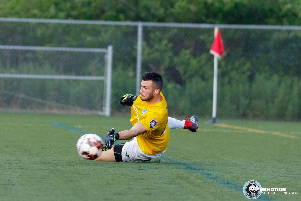 July 16, 2019 - St. Louis Park, Minnesota, United States - Med City FC goalkeeper AJ Jarvis (25) makes a save during the NPSL North playoff match against Minneapolis City SC at Benilde-St. Margaret's.