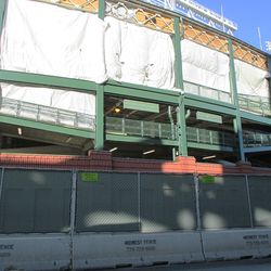 Addison street facade. All the ornamental iron has been taken down, temporarily one assumes, to complete the concourse work