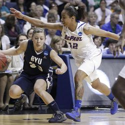 DePaul guard Brittany Hrynko (12) guards BYU guard Haley Steed (33) during the first half of an NCAA tournament first-round women's college basketball game in Rosemont, Ill., Saturday, March 17, 2012. (AP Photo/Nam Y. Huh)