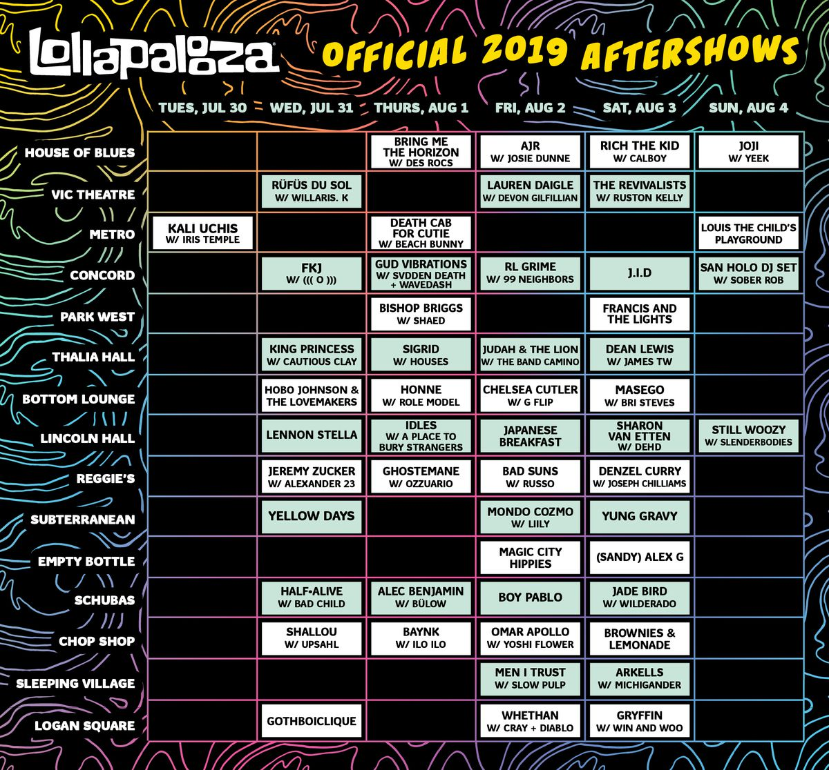 Lollapalooza 2019 after shows list, schedule - Chicago Sun-Times