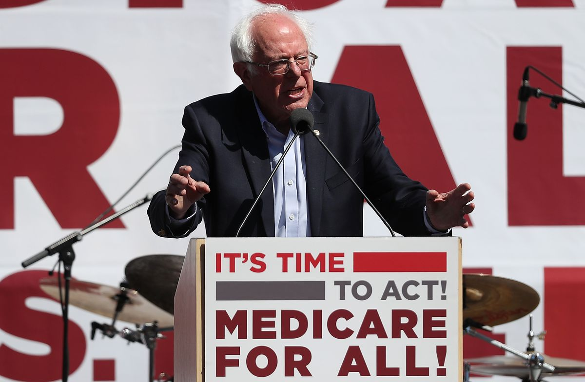 Bernie Sanders discusses the Medicare-for-all bill in San Francisco.