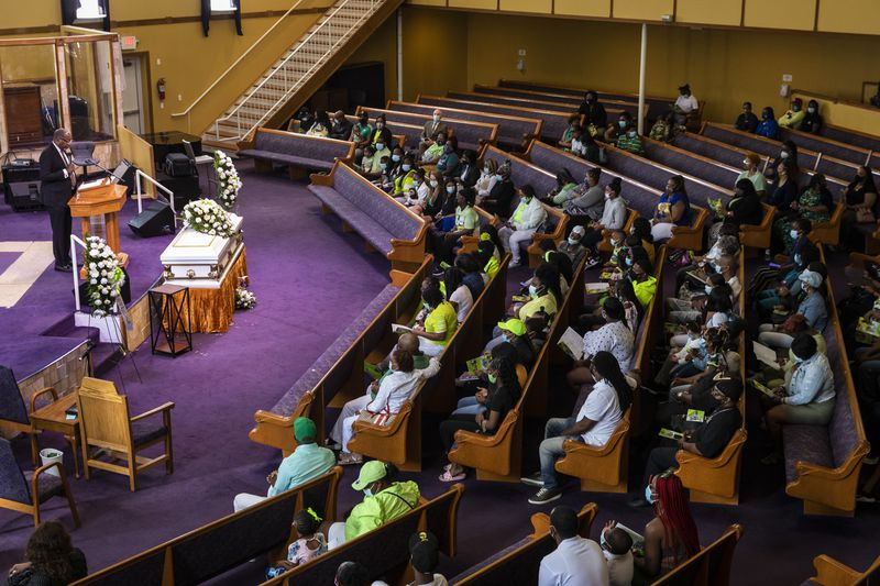 Rev. Eric Thomas speaks during the funeral for 13-year-old Jamari Dent at Greater Harvest Baptist Church at 5141 S. State St. in Washington Park on the South Side, Tuesday, June 22, 2021. His family said he suffered permanent brain damage in a suicide attempt in 2019 after months of bullying by Chicago Public Schools staff and students.