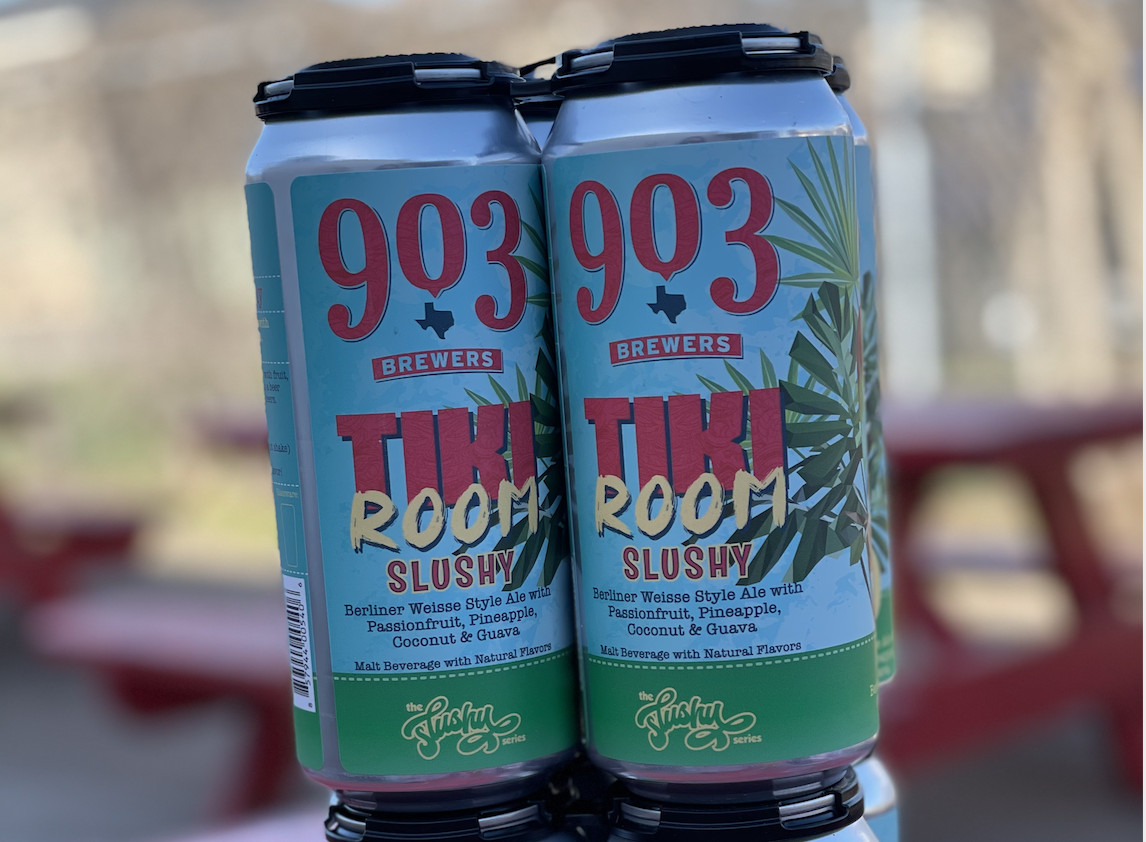 Cans of beer labeled Tiki Room Slushy